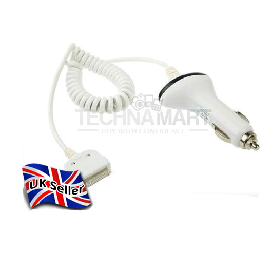 Car Cigarette Lighter Socket Charger With Coiled Cable For iPhone 4 In White